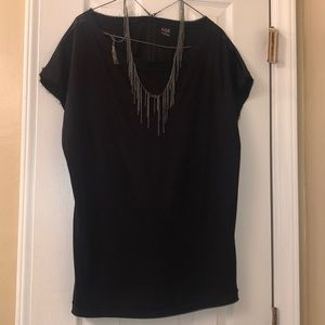 Black Ana Blouse with Necklace